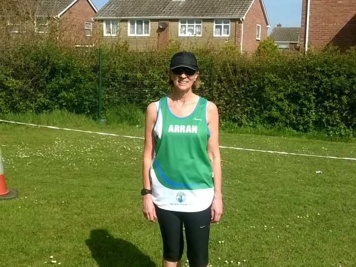 Sally Buckle running the Stour Valley marathon for the Smile of Arran